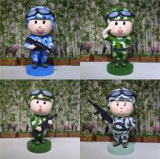 门口迎宾吉祥物玻璃钢卡通士兵雕像公仔模型