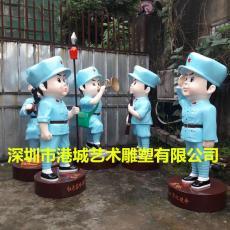 2019人气吉祥物小红军卡通雕塑厂家供应商