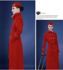 酒店迎賓員冬季新款大衣 空姐紅色毛呢大衣