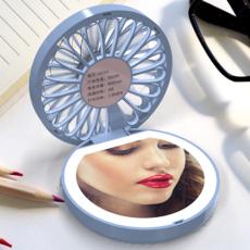 LED智能补光化妆镜带彩灯小风扇