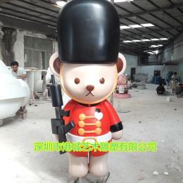 有個性卡通玻璃鋼泰迪熊雕塑有人喜歡嗎