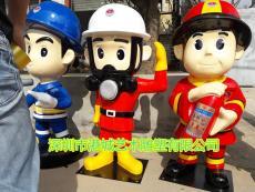 深圳玻璃鋼消防員卡通雕塑零售電話廠家