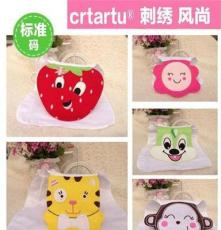 crtartu 独家设计 卡通造型大刺绣纱布吸汗巾 四层标准码垫背巾
