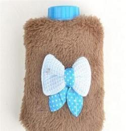 A013蝴蝶結迷你暖手寶沖水式熱水袋可愛清新便攜式毛絨暖寶寶批發