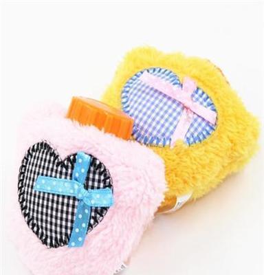 A010愛心格子充水熱水袋毛絨充電暖手寶普通迷你暖寶寶廠家直銷