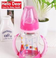 廠家直銷新生寶寶寬口徑晶鉆玻璃防爆吸管組膚質奶瓶