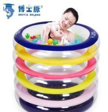 厂家直销博士豚婴儿游泳池 PVC充气彩色圆形水池 送脖圈DD02005