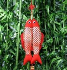 沈君竹炭 竹炭制品 除味除甲醛 竹炭吉祥掛件-小年年有魚 (紅)
