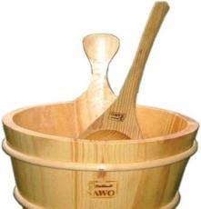 桑拿浴澆水木桶和木勺/白松木桶/白樺木勺