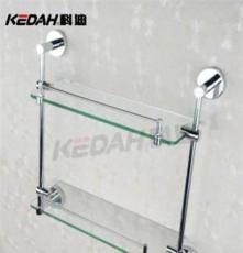 双层玻璃置物架 科迪卫浴 厂家直销 酒店居家全铜置物架KD-8614