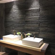 厂家直销江西黑色流水石文化石背景墙流水板