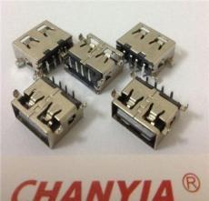 供應廈門A型短體USB母座短體沉板式1.6mm四個固定腳插板