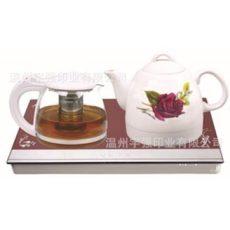 厂家直销陶瓷电热水壶套装1.0L早春玫瑰玻璃底座