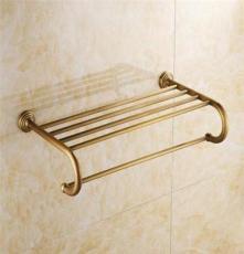 精品熱銷 歐式多功能浴室壁掛浴巾架 毛巾桿 全銅仿古浴巾架