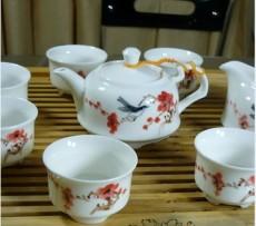 手绘【樱花】陶瓷8头功夫茶具茶壶公道杯