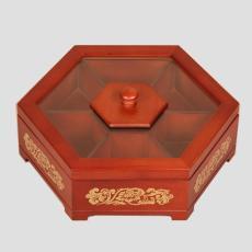 零食收納盒定制六角木盒實木喜盒干果盒