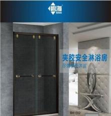 碧海 夹胶安全淋浴房 一字形不锈钢 双移门钢化玻璃门 定制
