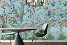 JCC天洋墻布 瑯彩百趣園新中式花鳥定制壁畫