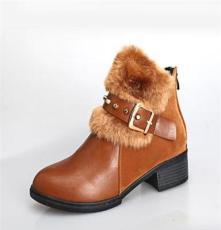批發供應2013新款秋冬季女鞋 時尚加絨打扣 短款女靴