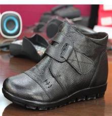 冬季新款 女棉鞋 中老年真皮媽媽鞋 保暖高幫 舒適坡跟 防滑軟底