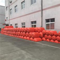 漂浮攔污設備電站雙排塑料攔污浮桶安裝