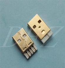 USB2.0A公短體一體式銅端鐵殼鍍金