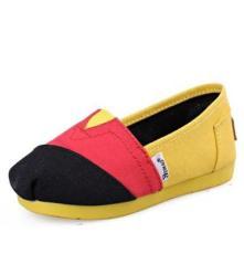 2014新款童鞋批发 儿童帆布鞋 潮流撞色中大童一脚蹬套脚鞋