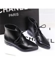新款平底鞋 牛皮漆皮短靴 軟面皮系帶粗跟短筒靴女靴 尖頭女靴子