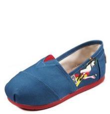 個性風潮流女鞋 淺口平底帆布套腳鞋 歐美時尚拼色駕車鞋