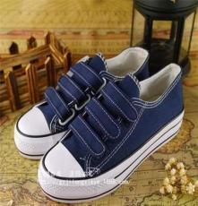 中國三球 厚底 低幫 魔術貼休閑帆布鞋 女款松糕學生鞋 T011 三色