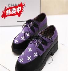 2014新款韓版小粗跟拼色單鞋鉚釘金屬真皮系帶印花外貿女鞋招代理