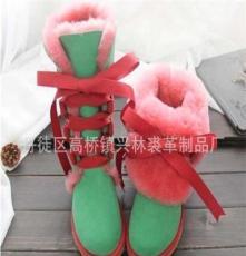 系带羊皮毛一体撞色女款雪地靴 可多变款式雪地靴 时尚保暖