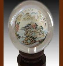 衡水 冀派內畫水晶球 人造水晶 山水造型 水晶球批發 收藏商務品