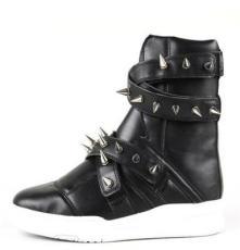 厂家直销 人造PU皮柳钉个性马丁靴子 霸气明星款男士潮流高筒靴子
