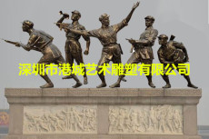 深圳紅軍雕像廠家 新四軍 玻璃鋼解放軍雕塑