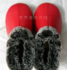 海宁冬季家优质居家鞋皮拖鞋保暖棉鞋男女老人包跟防滑暖鞋大红色