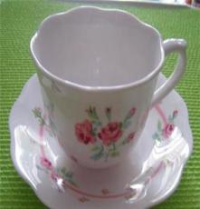 外贸Gamellia骨瓷双人茶具咖啡具杯碟异形7件礼品套装结婚礼物