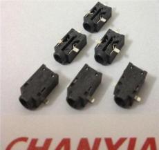 供应小型DC电源插座055A三脚贴片SMT孔内针脚0.7mm全包LCP塑胶型