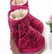 冬款女童亮片加绒雪地靴保暖鞋棉鞋儿童中筒童靴 外贸童鞋批发