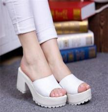 2014夏季新款 女拖鞋 防水台凉拖女高跟凉拖鞋 粗跟 一字拖鞋 女