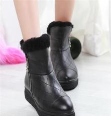 2013冬季新款厚底羊毛短靴时尚皮毛一体雪地靴韩版真皮平底女靴子