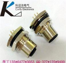 焊板式M12法蘭插座,4孔5孔傳感器插座