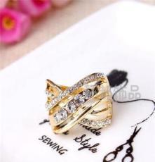批发三色可选饰品 水晶钻戒 外贸欧美戒指 潮流时尚