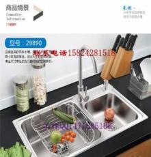 厨房304不锈钢水槽双槽套餐 洗菜盆洗碗池一体成型拉丝处理