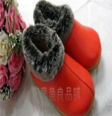 海宁冬季家优质居家鞋皮拖鞋保暖棉鞋男女老人包跟防滑暖鞋橘黄色