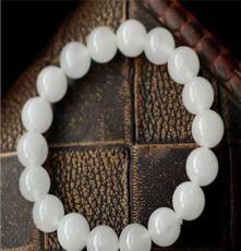 順心 天然水晶白玉髓6MM至12MM白玉手鏈 稀有貨品 白皙美麗
