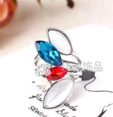 厂家批发水晶钻戒 三色饰品 外贸欧美戒指 潮流时尚
