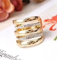三色饰品 外贸欧美戒指 潮流时尚 水晶钻戒