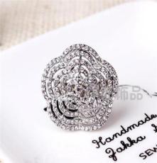三色可选饰品 水晶钻戒 外贸欧美戒指批发 潮流时尚NO010