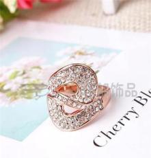 三色饰品批发 水晶钻戒 外贸欧美戒指 潮流时尚